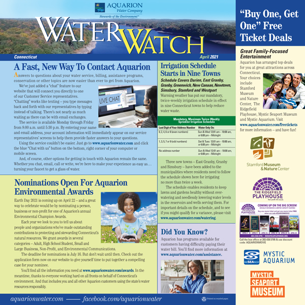 April 2021 issue of Connecticut Water Watch