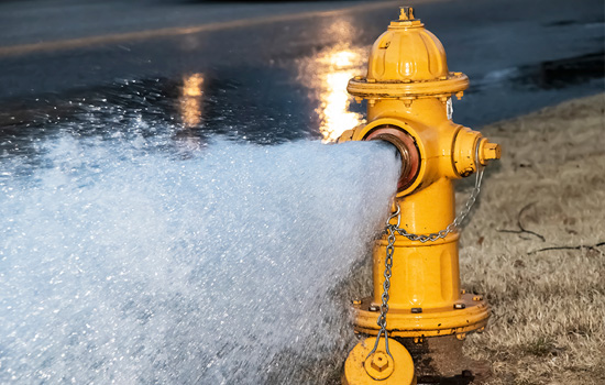 fire hydrant spraying water